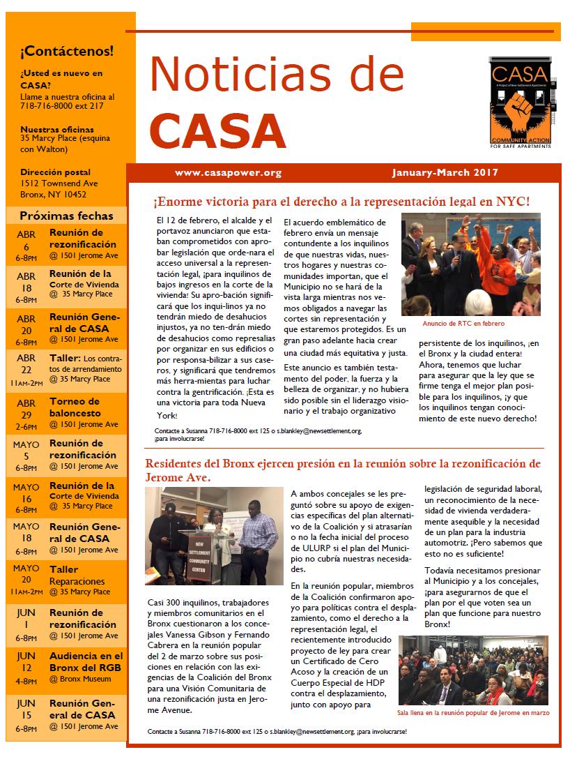 CASA Newsletter Jan-Mar 2017 Spanish FINAL
